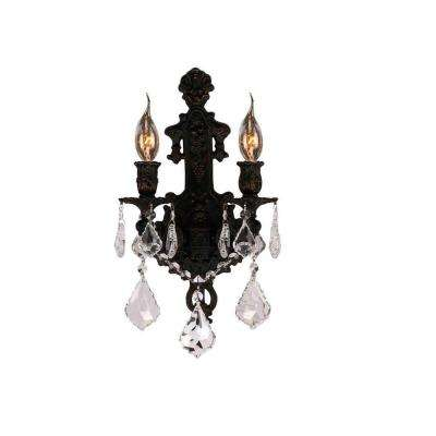 Versailles Collection 2-Light Flemish Brass Sconce with Clear Crystal