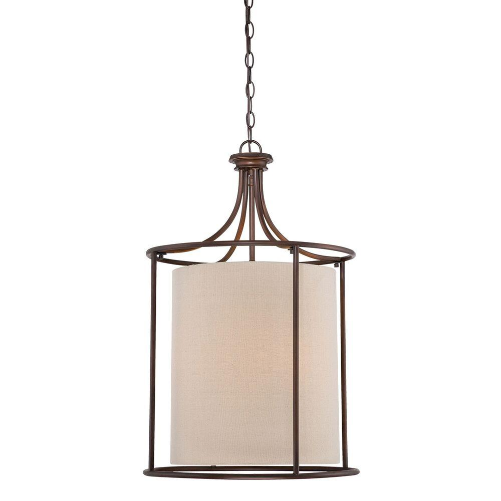 Millennium Lighting 3 Light Rubbed Bronze Candle Pendant With Beige Linen Shade