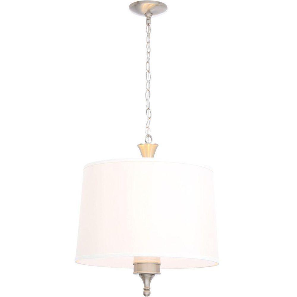 Hampton Bay Towne 3 Light Brushed Nickel Hanging Pendant