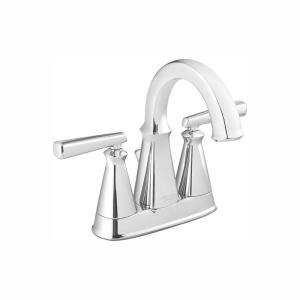 Edgemere 4 in. Centerset 2-Handle Bathroom Faucet with Metal Speed Connect Drain in Chrome