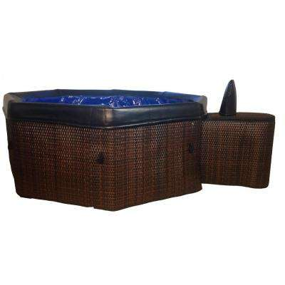 5-Person Portable Bali Spa with Light Brown Wicker-Style Skin