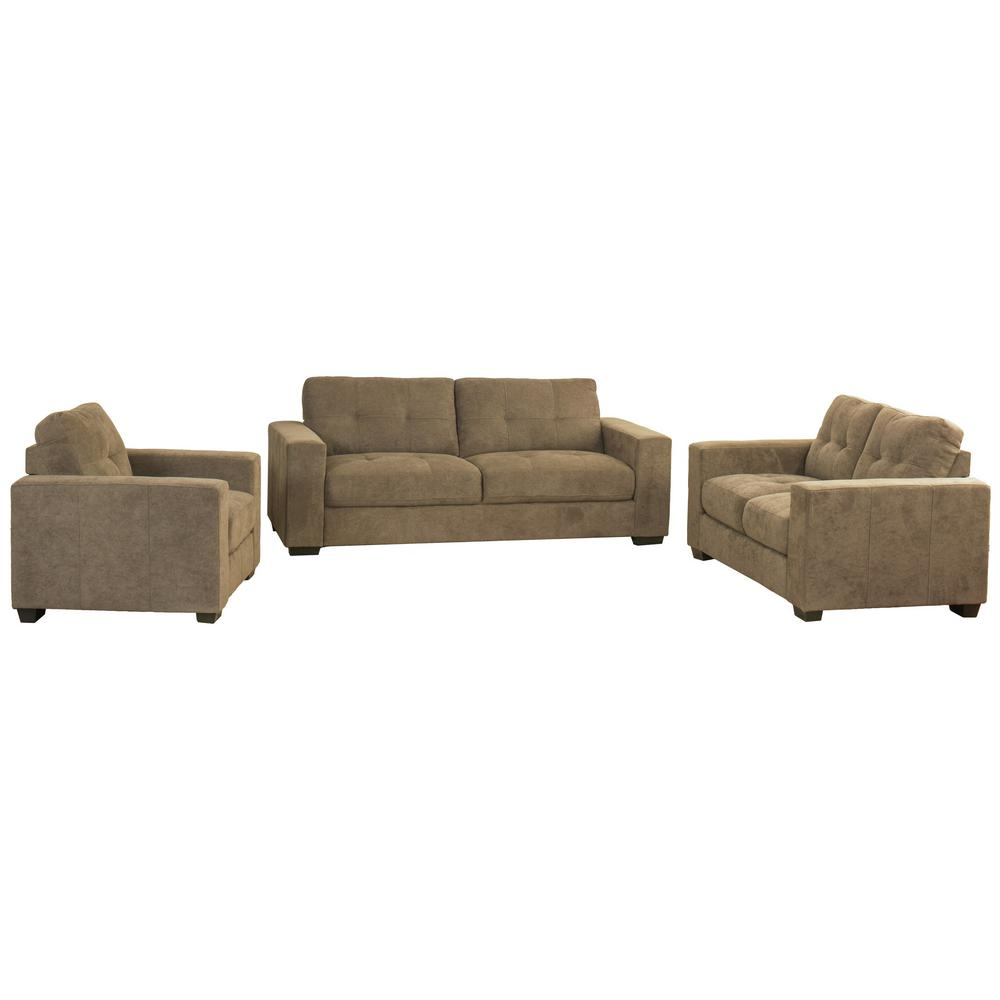 Corliving Club 3 Piece Tufted Brown Chenille Fabric Sofa Set