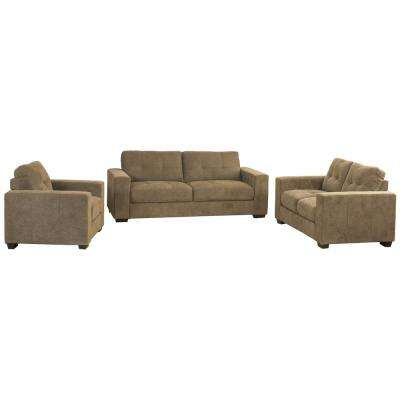 Club 3-Piece Tufted Brown Chenille Fabric Sofa Set