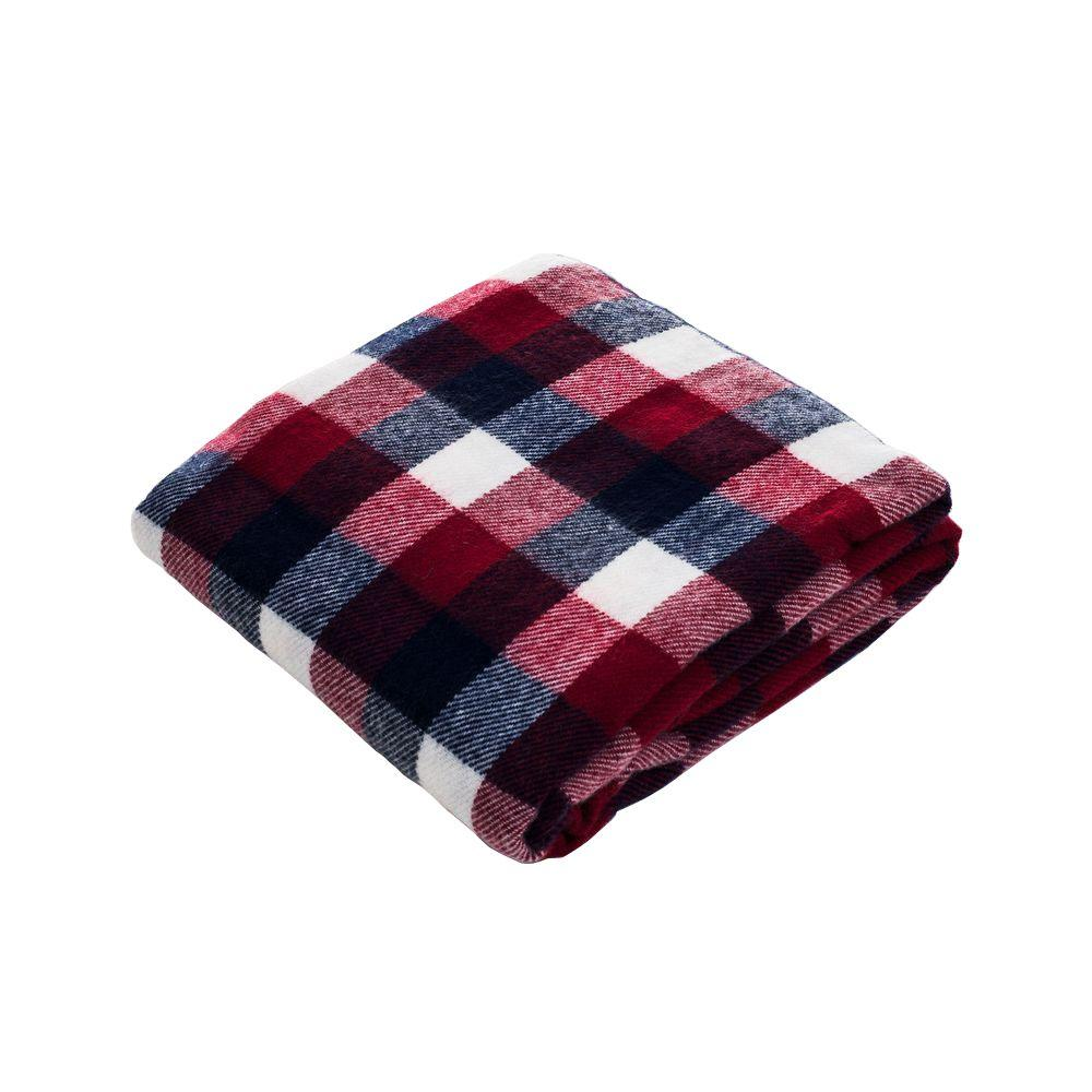 Blue/Red Checkered Cashmere-Like Polyester Throw Blanket