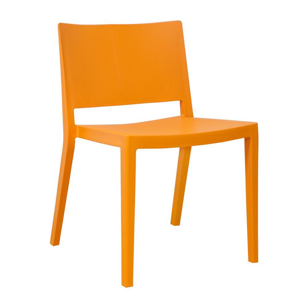 Elio Modern Orange Plastic Dining Side Chair (Set of 2)