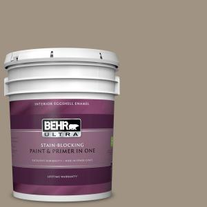 Behr Ultra 5 Gal 780b 4 Slate Pebble Eggshell Enamel Interior Paint And Primer In One 275405 The Home Depot