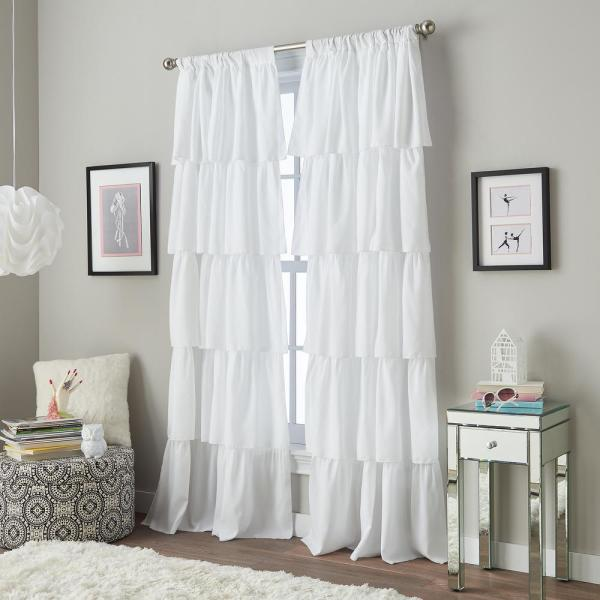 Flounced Ruffle Light Filtering 42 in. W x 95 in. L Rod Pocket Curtain Panel in White