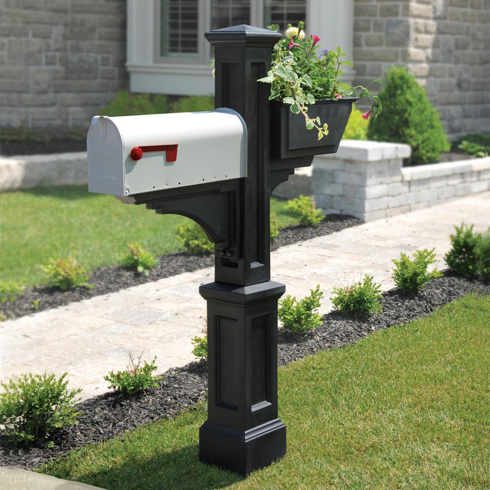 Westbrook Plus Plastic Mailbox Post Old-World New England Draw Black Fade Resist