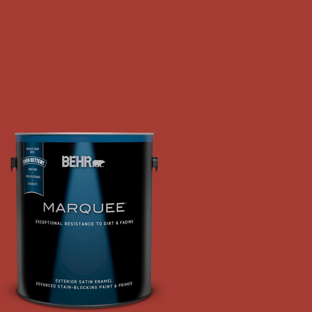 BEHR MARQUEE 1 gal. #UL110-16 Bijou Red Satin Enamel Exterior Paint and Primer in One