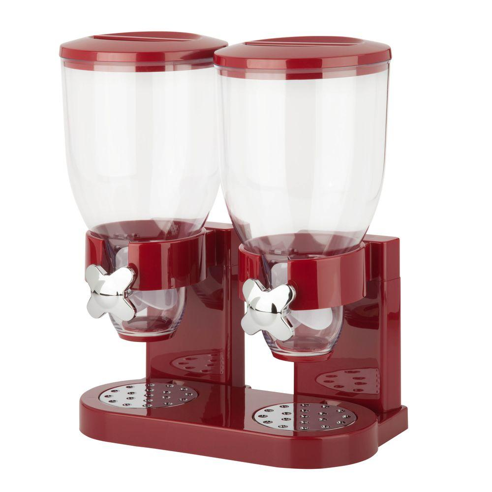 Double Red Cereal Dispenser with Portion Control