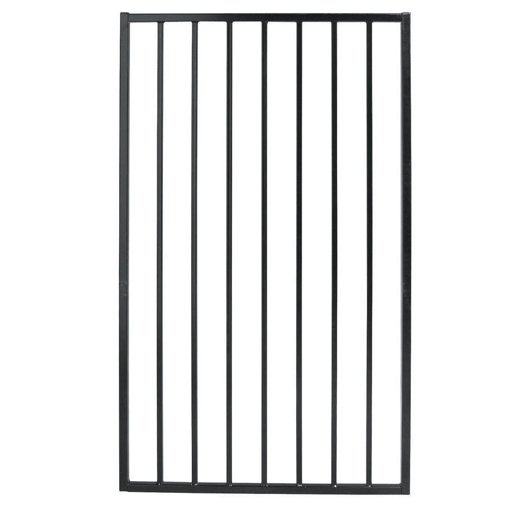 First Alert Premium Series 3 ft. W x 5 ft. H Black Steel Single Walk-Through Fence Gate