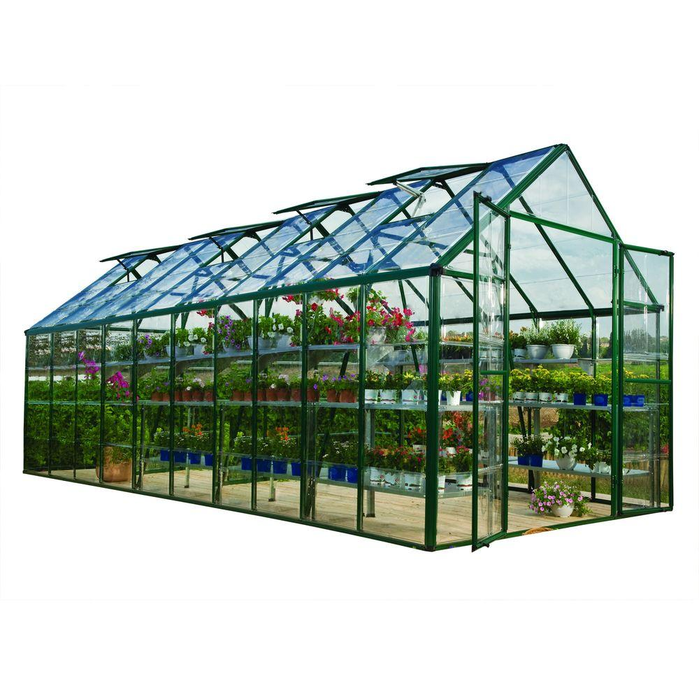 Palram Snap and Grow 8 ft. x 20 ft. Green Polycarbonate Greenhouse