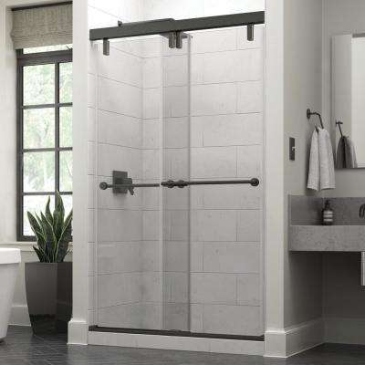 Lyndall 48 x 71-1/2 in. Frameless Mod Soft-Close Sliding Shower Door in Bronze with 3/8 in. (10mm) Clear Glass