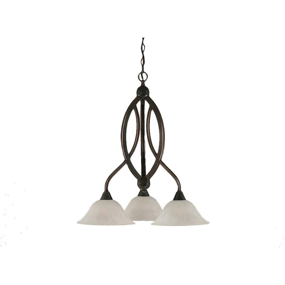 Concord 3-Light Black Copper Chandelier with White Marble Glass