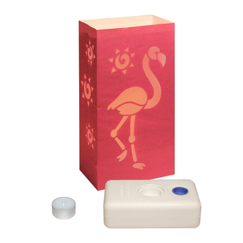 Luminaria LumaBase Pink Flamingo Luminaries (12-Pack)-DISCONTINUED