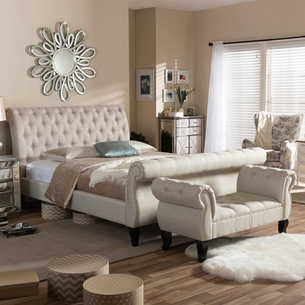 Baxton Studio Arran 2-Piece Beige King Bedroom Set 5202-5278-HD ...