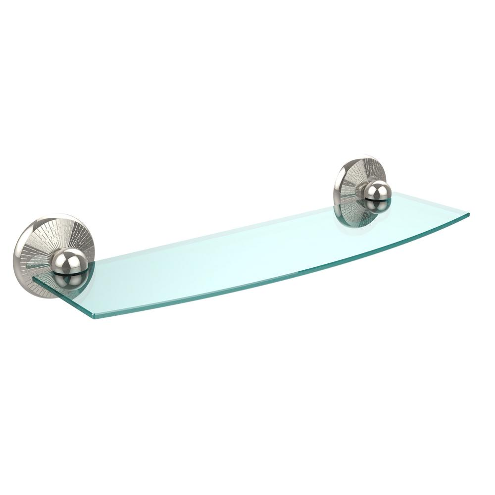 Allied Brass Monte Carlo 18 in. L  x 3 in. H  x 5 in. W Clear Glass Bathroom Shelf in Polished Nickel