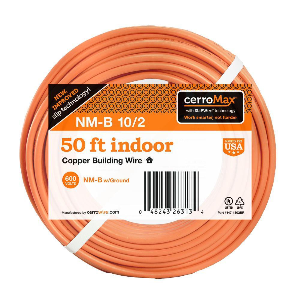 50 ft. 10/2 NM-B Wire, Orange