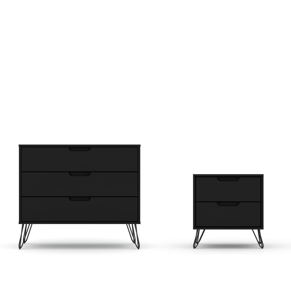 Intrepid 5-Drawer Black Mid-Century Modern Dresser and Nightstand (Set of 2)