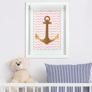 Linden Ave 11 inch x 14 inch Gold Anchor 1-Piece Framed Artwork with Mat and Foil by Linden Ave