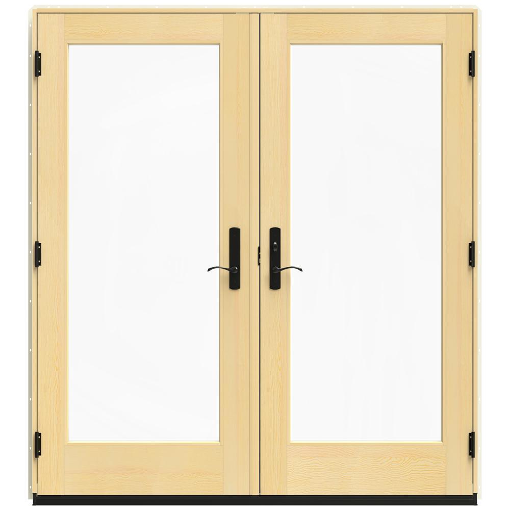 Jeld wen 72 in x 80 in w 4500 vanilla clad wood left for Wood patio doors home depot