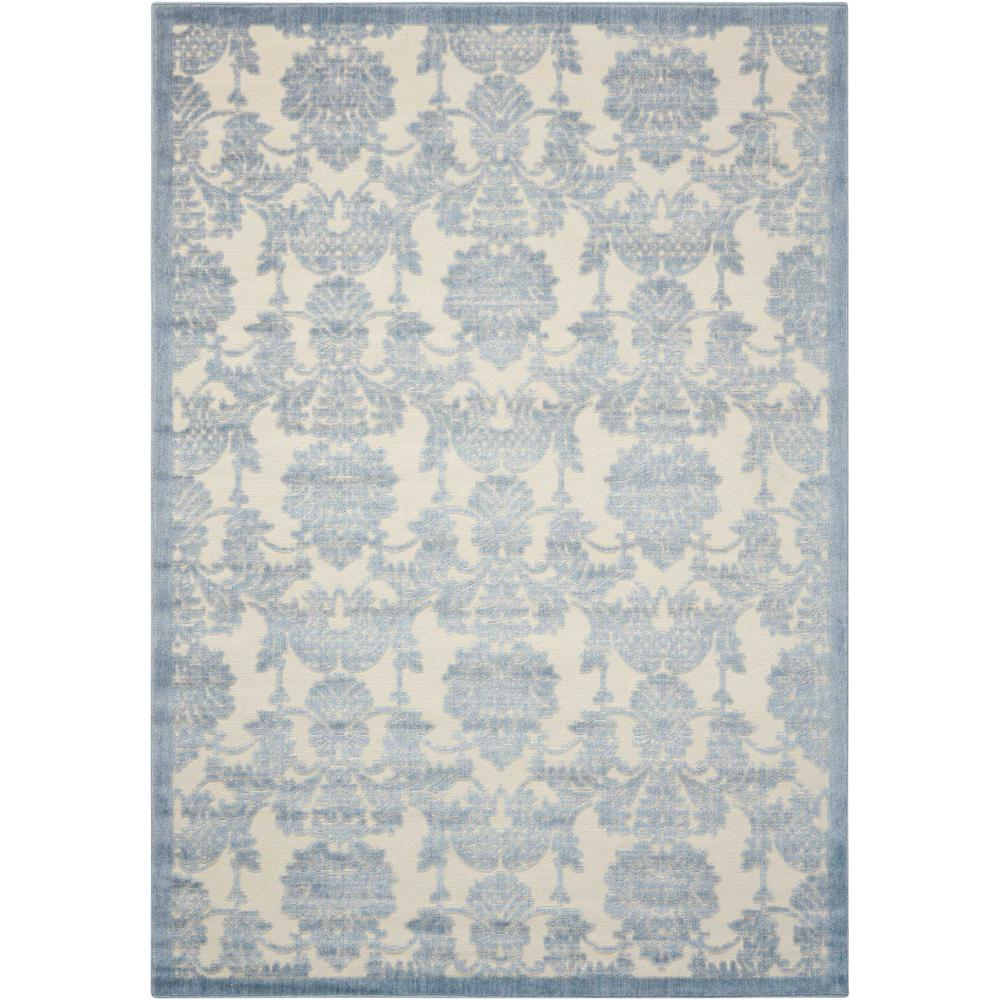 Graphic Illusions Ivory/Light Blue 3 ft. 6 in. x 5 ft.