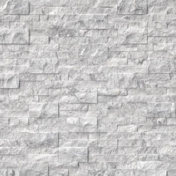 Arabescato Carrara Splitface Ledger Panel 6 in. x 24 in. Marble Wall Tile (10 cases / 60 sq. ft. / pallet)