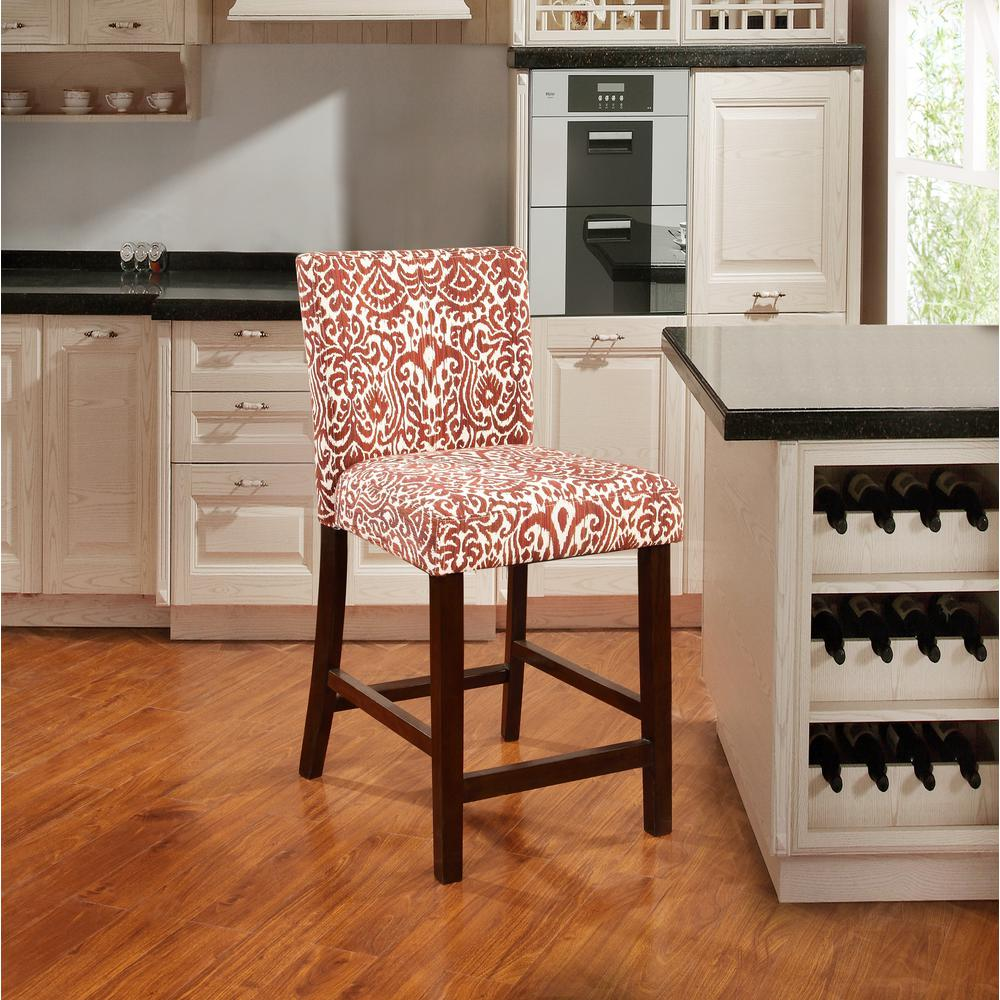 Morocco Lava 24 in. Red Cushioned Bar Stool