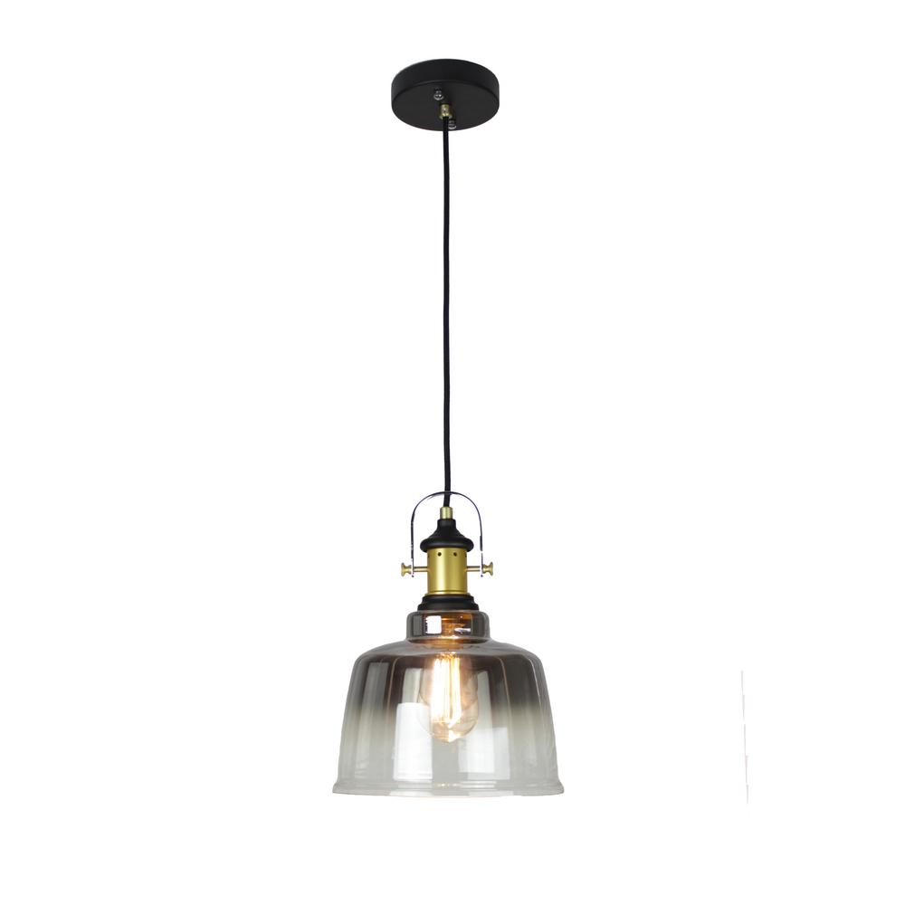 Industrial 1-Light Gradient Smoked Pendant Glass