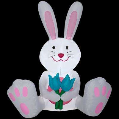 53.94 in. W x 26.77 in. D x 59.8 in. H Inflatable White Bunny Airblown