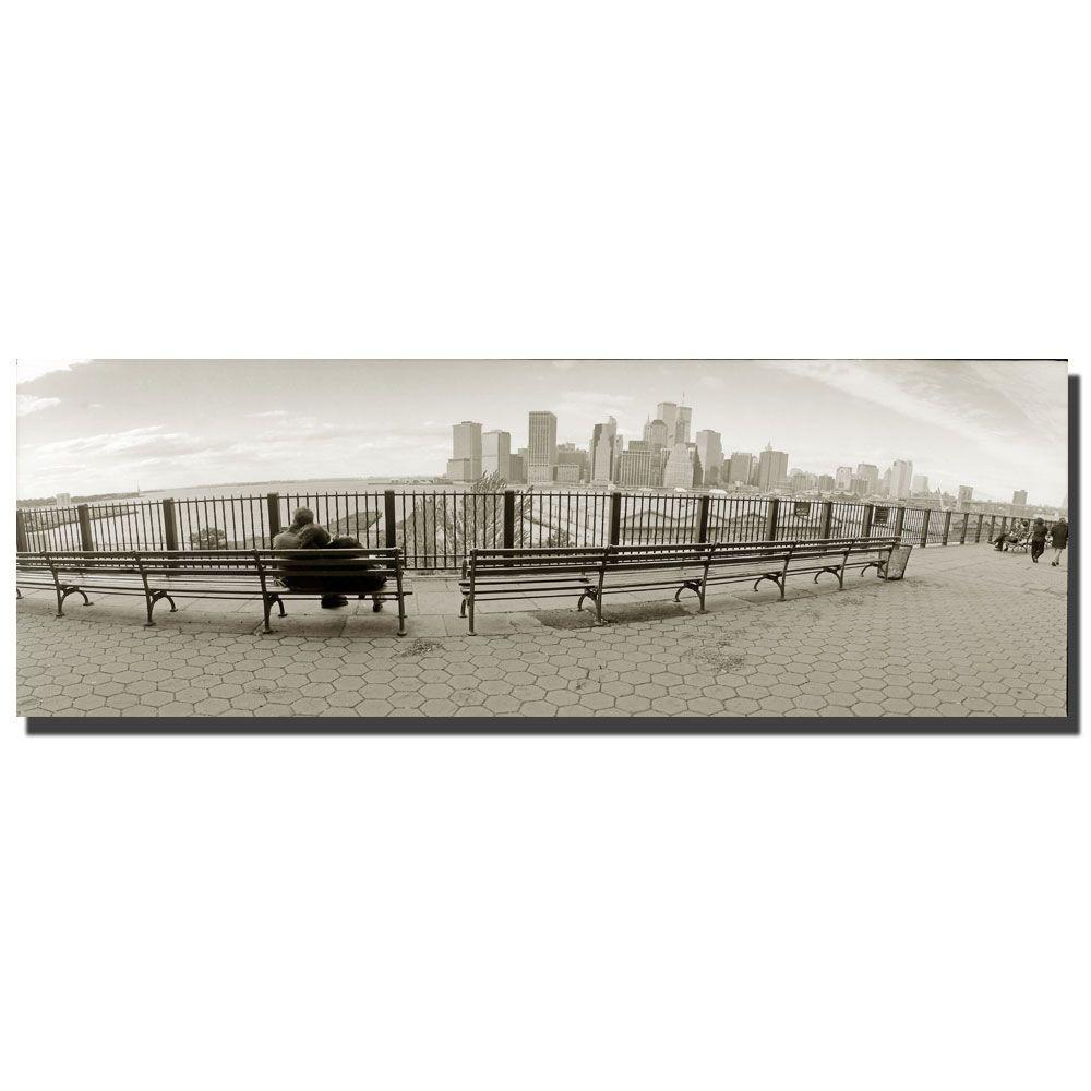 Trademark Fine Art 10 in. x 32 in. New York Bench Canvas Art