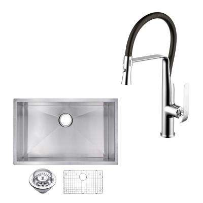 All-in-One Undermount Stainless Steel 33 in. Single Bowl Kitchen Sink with Faucet in Chrome Sink Kit