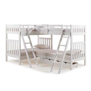 Aurora White Twin Over Twin Bunk Bed with Quad Bunk Extension and Storage Drawers