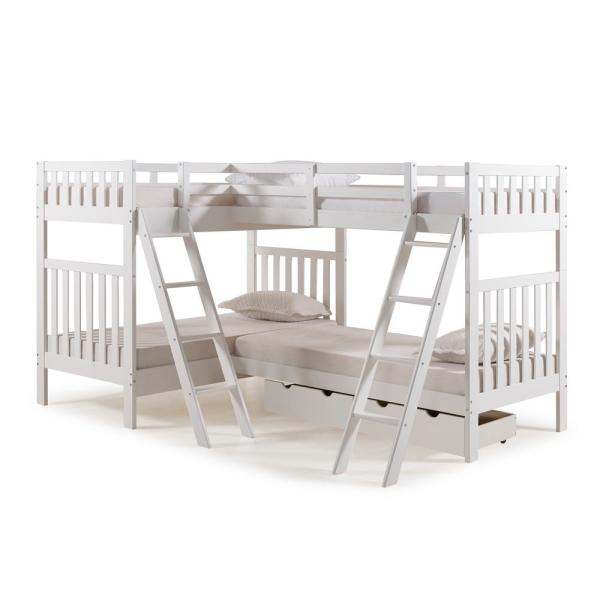 Alaterre Furniture Aurora White Twin Over Twin Bunk Bed with Quad