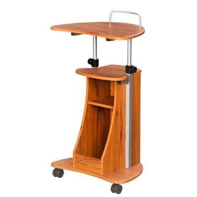 Wood Grain Sit-to-Stand Rolling Adjustable Height Laptop Cart With Storage