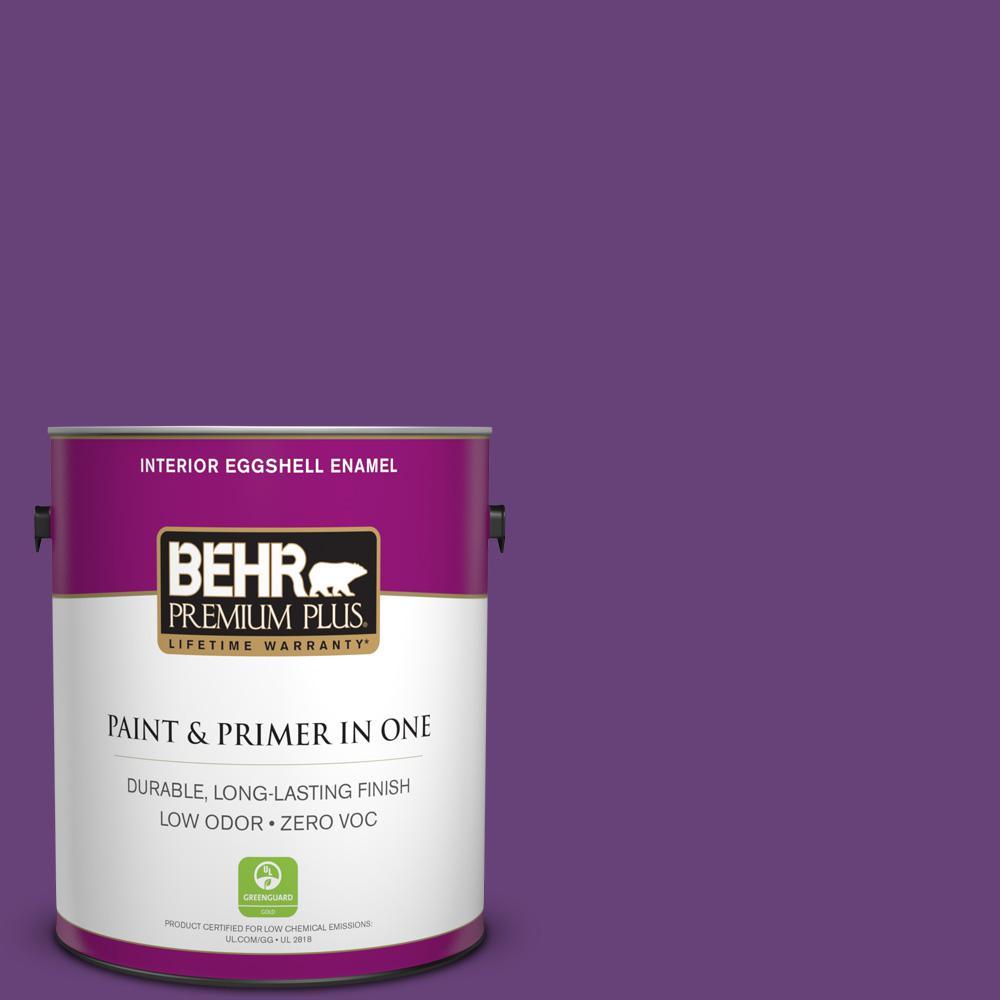 BEHR Premium Plus 1-gal. #660B-7 Exotic Purple Zero VOC Eggshell Enamel Interior Paint