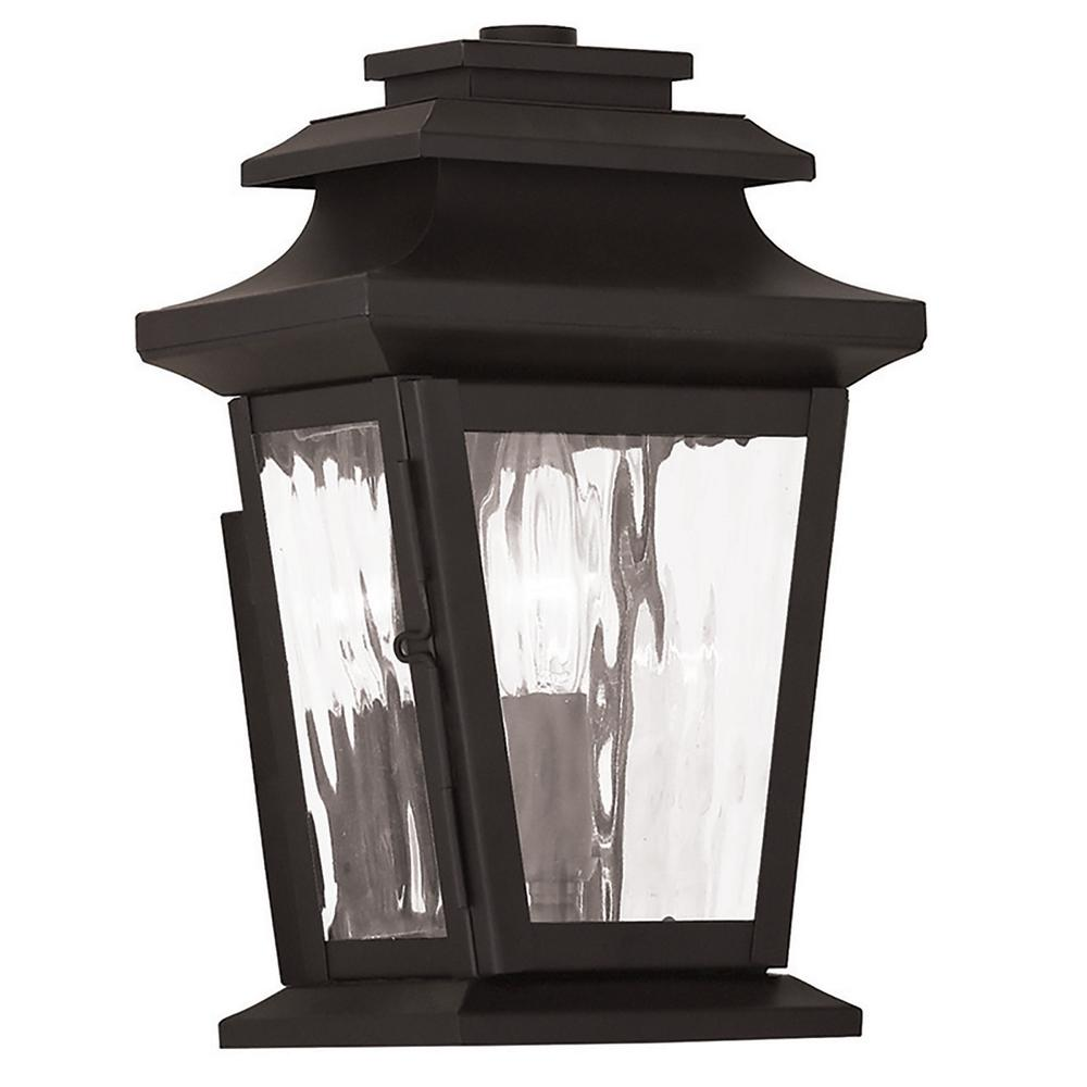 Hathaway 1-Light Bronze Outdoor Wall Mount Lantern