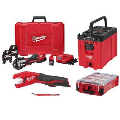 M12 12-Volt Lithium-Ion Force Logic Cordless Press Tool Kit (3-Jaws Included) w/ M12 Copper Tubing Cutter & Packout Kit