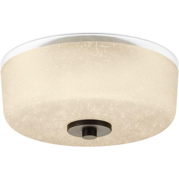 Alexa Collection 2-Light Antique Bronze Flush Mount with Etched Umber Glass