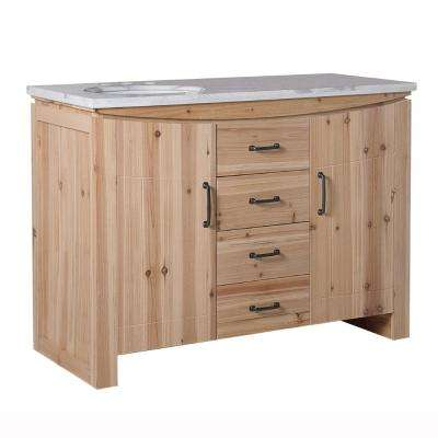Vista 48 in. W x 22 in. D x 36 in. H Single Vanity in Natural with Marble Vanity Top in White with White Left Basin