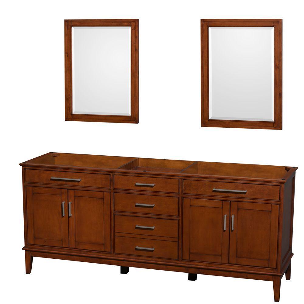 Hatton 78.5 in. Vanity Cabinet with Mirror in Light Chestnut