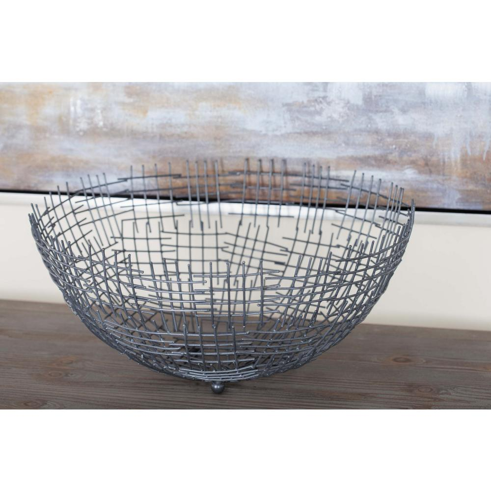 Modern Gray Metal Wire Bowls (Set of 3)