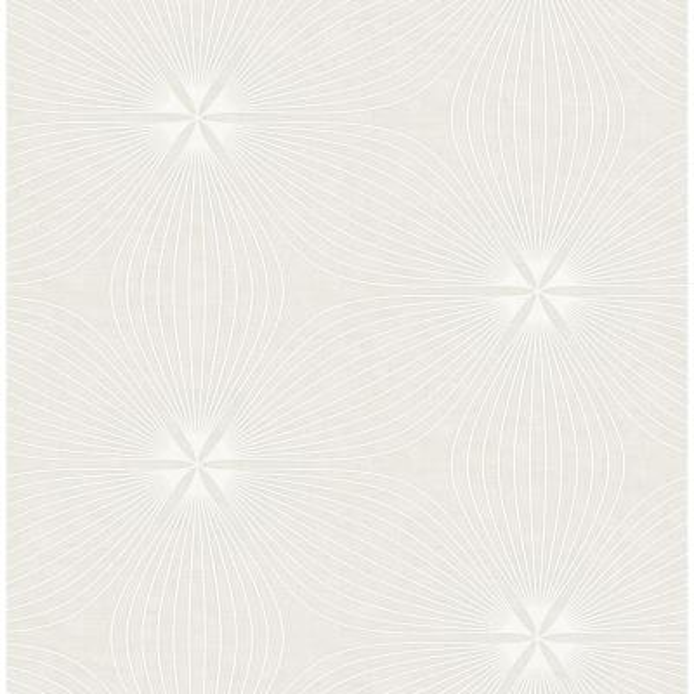 Lucy Light Gray and White Starburst Wallpaper