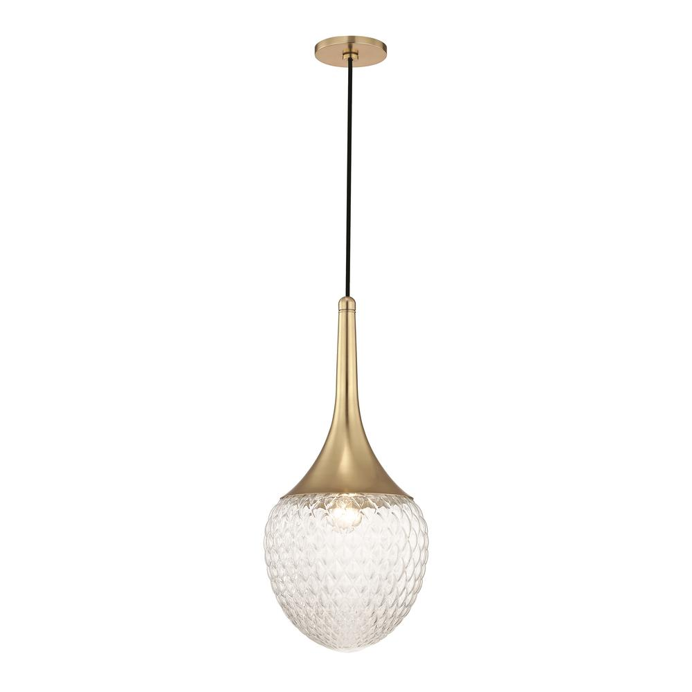 Bella 1-Light Aged Brass 22.25 in. H Pendant with Clear Glass