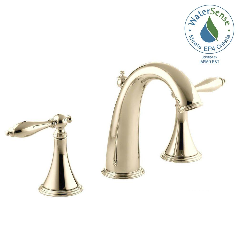 Kohler Finial Traditional 8 In Widespread 2 Handle High Arc Bathroom Faucet In Vibrant French Gold With Lever Handles