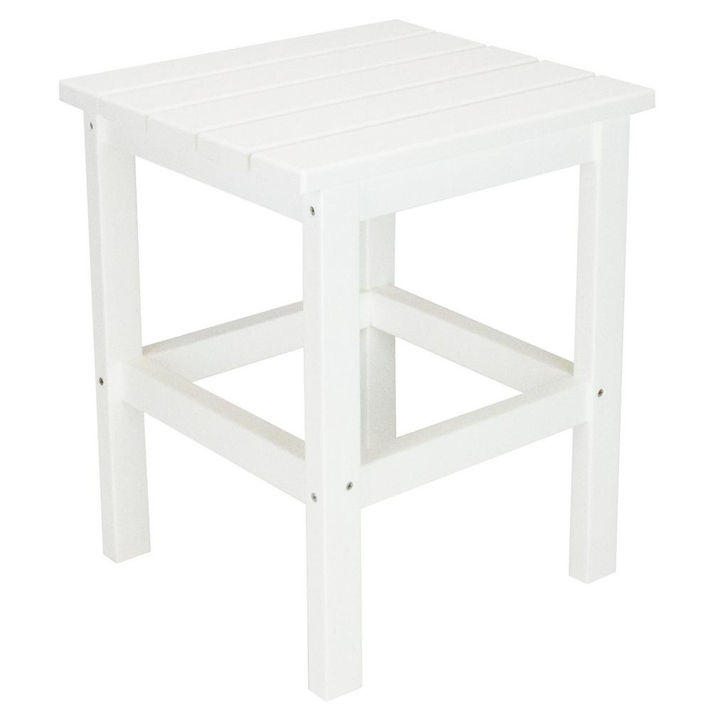 Icon White Square Plastic Outdoor Side Table