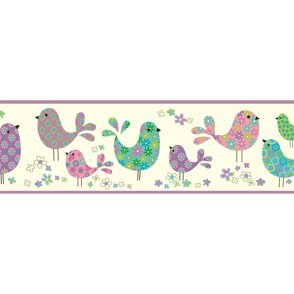 Patria Purple Calico Birdies Toss Wallpaper Border Sample
