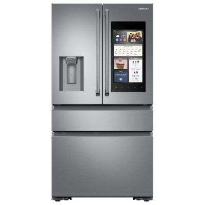 22.6 cu. Ft. Family Hub 4-Door French Door Polygon Handle Smart Refrigerator in Stainless Steel, Counter Depth