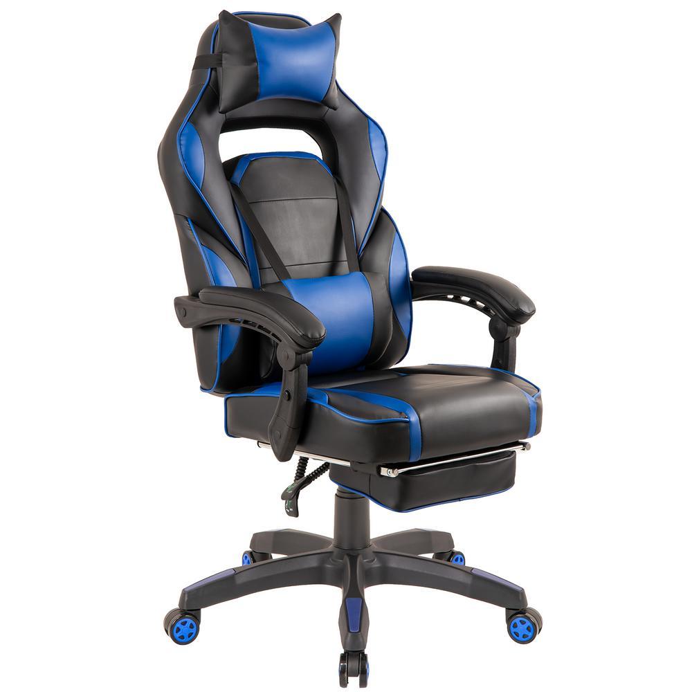 Blue High-Back PU Leather Swivel Ergonomic Gaming Chair