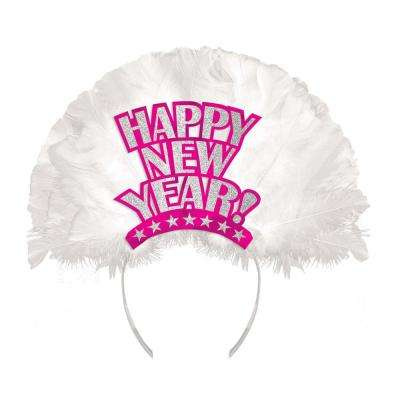 New Year's 12 in. Pink Deluxe Feather Tiara (3-Pack)